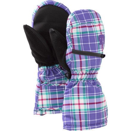 Snowboard Give your pint-sized person some dry, warm protection when the fam hits the resort with the Burton Toddlers Mini Shred Heaterpack Mitten. This toasty little mitt features a DryRide waterproof shell with synthetic Thermacore insulation to keep moisture and cold at bay. When the temperature plummets, slide a hand-warmer pack into the zippered pocket for an added heat boost. The soft fleece lining adds comfort and wicks moisture, so you can get your riding time in without dealing with a screaming kid. - $16.14
