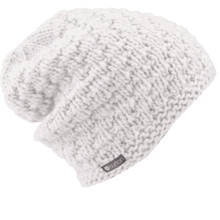 Snowboard You dont have to be shaped like a giant soft-serve ice-cream cone or work in a greasy-spoon diner to wear the Burton Big Bertha Beanie. This slouchy popcorn-knit beanie works for all shapes, sizes, and walks of life. - $14.97