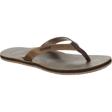 Surf The Reef Women's Skinny Leather Sandal doesn't have a thin profile or narrow straps like some fancier leather flips, but it does have a comfy EVA midsole and great feel which will lead to longer walks which lead to a fitter, happier you. - $43.16