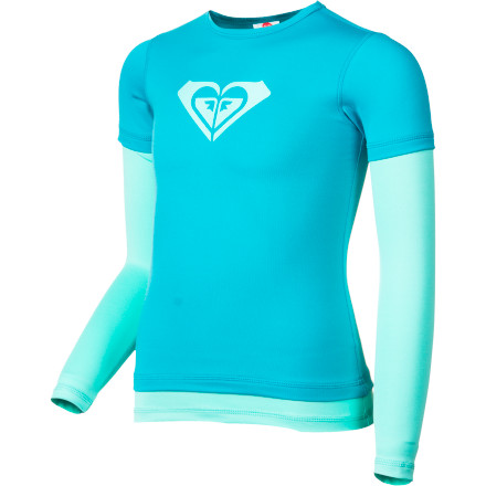 Surf Take cool-girl cover when you're having fun in the sun with the double-top style Roxy Girls' Double Time Rashguard. It's stretchy for all your surf maneuvers, and that inimitable Roxy Girl style make rash and sun protection all fun and no fuss. - $32.40
