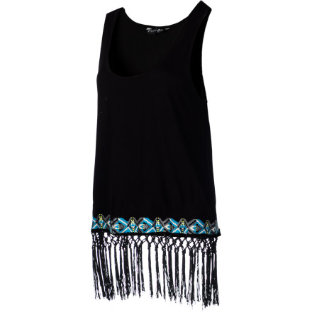 Surf Wear your Volcom Women's Heart Nouveau Fringe Tank Top and walk up and down the boardwalk. The fringe puts a little extra swing in your step and breathes adds a little excitement to your look. - $23.67