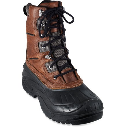Camp and Hike Sorel Avalance Trail winter boots boast a -25degF comfort rating, waterproof protection and a nimble, lightweight design for multipurpose use throughout winter. Waterproof full-grain leather uppers sit atop lightweight, waterproof shells for excellent protection against the elements. 200g Thinsulate(R) polyester fiber insulation offers warmth and moisture management; boots have a comfort rating of -25degF. Molded EVA midsoles deliver cushy comfort underfoot and improve thermal protection. Supportive nylon shanks supply torsional stability for enhanced support on uneven terrain. Sorel Avalance Trail winter boots feature rubber outsoles with aggressive, multidirectional lugs to enhance traction on winter surfaces. - $64.83