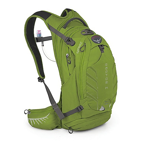 Camp and Hike Free Shipping. Osprey Raptor 14 Pack DECENT FEATURES of the Osprey Raptor 14 Pack AirScape backpanel provides cushioned comfort and breathability New BioStretch, ventilated harness is cool and comfortable Full hipbelt keeps pack stable and transfers load effectively Unique New hydration sleeve design with direct access zip for fast loading Shoulder strap zips offer right-side hose path LidLock clip quickly secures helmet Stretch mesh front pocket for quickly stashing extra gear Stretch mesh zippered waistbelt pockets provide secure, expandable storage Removable, roll-up pouch keeps tools handy and organized Internal sleeves hold pumps securely Zip access sunglass pocket with protective embossed fabric Blinker light attachment patch and reflective graphics for safety 3L Hydraulics Reservoir included in all models Magnetic sternum buckle for quick access to the reservoir bite valve Large front zip pocket with shove-it pocket behind Lower zip compartment for quick access to tool pouch Stretch mesh side pockets Removable roll-up tool pouch The SPECS 70 x 100D nylon shadow check Volume: 854 cubic inches / 14 liter Weight: 1 lb 10 oz / 0.75 kg Reservoir Weight: 11 oz / 0.31 kg Dimension: (H x W x D): 19 x 9 x 9in. / 47 x 22 x 23 cm - $129.00
