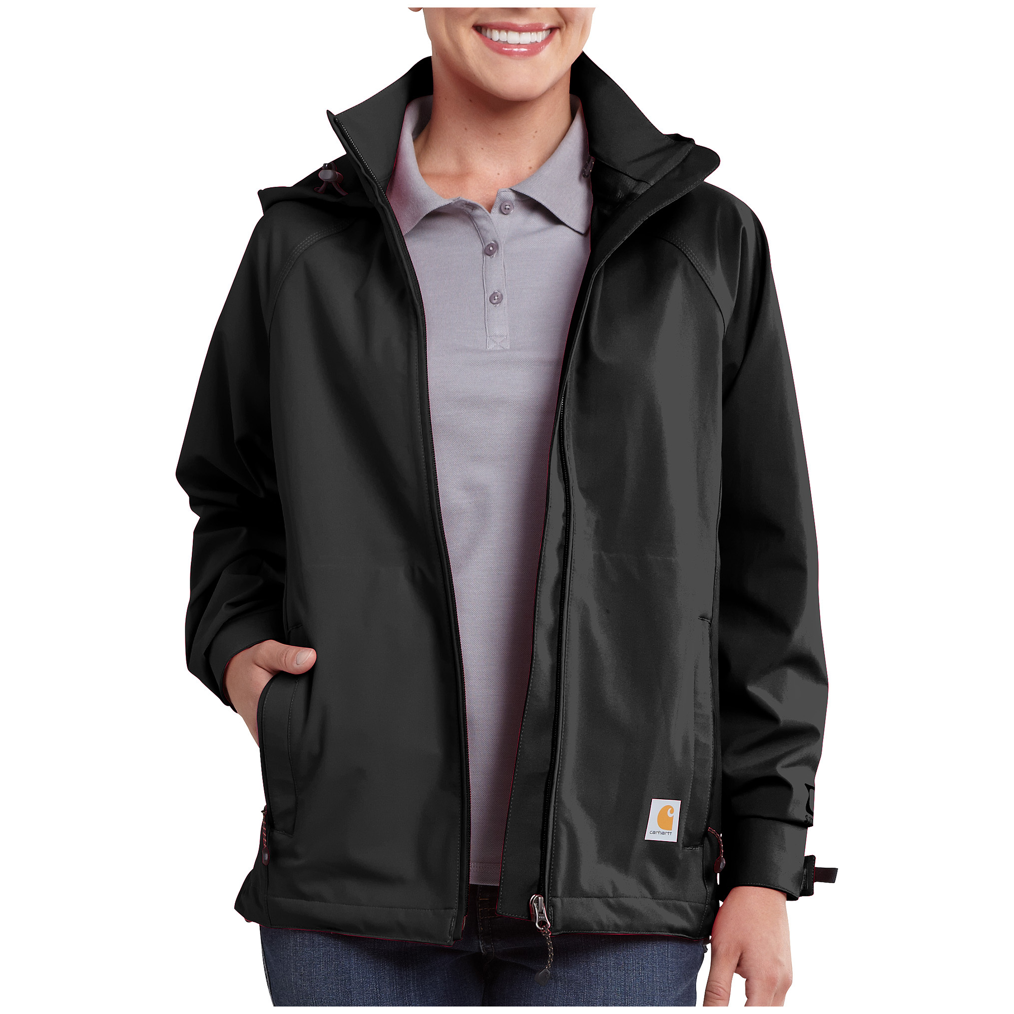 Women's Carhartt Force Equator WATERPROOF Jacket. A Force to be reckoned with. Waterproof and breathable, this Jacket wicks away sweat and fights odors thanks to Force technology. 4-way stretch fabric makes moving around easy.5-oz. 3-layer 100% polyester shell with Storm Defender & trade waterproof/breathable membrane and Rain Defender & trade durable water-repellent finish Polyester mesh interior with FastDry & trade technology that wicks away moisture for comfort Attached 3-pc. hood with drawcord and barrel locks Odor-fighting Force technology keeps you and Jacket fresh Fully-taped waterproof seams 2 zipper hand pockets Hook-and-loop adjustable cuffs Mesh vent at back yoke for added breathability Reflective trim on pockets and rear yoke for added visibility Media port Drop tail for added coverage. Imported. - $129.99