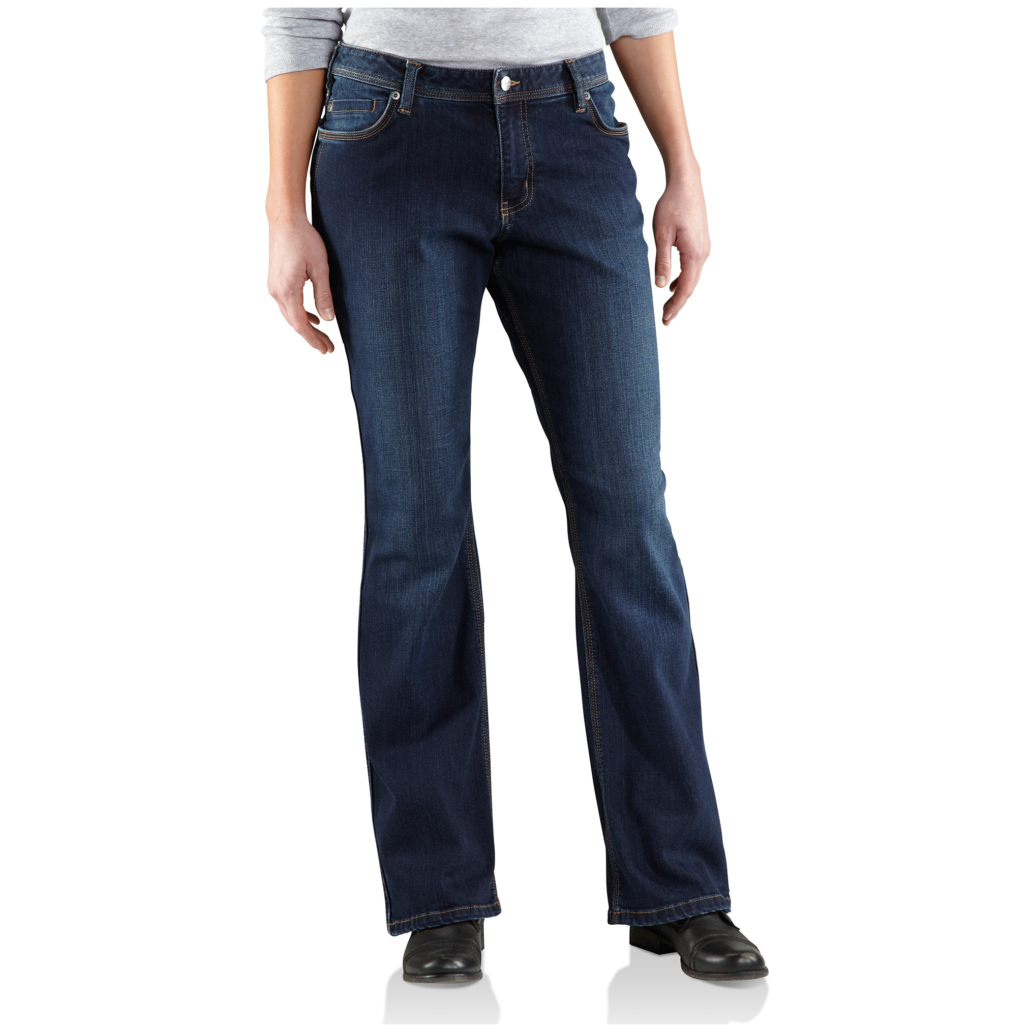Women's Carhartt Relaxed Fit Jasper Denim Jeans. Fashionable, but with plenty of stretch! Cut for any job. Cut to fit you comfortably. The stretch-blend denim makes crouching, crawling, and climbing just that much easier. Details:10.5-oz. 77/21/2 cotton / polyester / spandex denim blend Rugged Flex technology offers plenty of flex for bending, etc. Original fit, mid-rise, sits just below the waist Relaxed fit through the hip and thighs Boot cut leg Classic 5-pocket design Triple-stitched inseams for added durability Contoured waistband prevents gapping in the back. Machine wash / dry. Imported. Order ONLINE Today! - $34.99