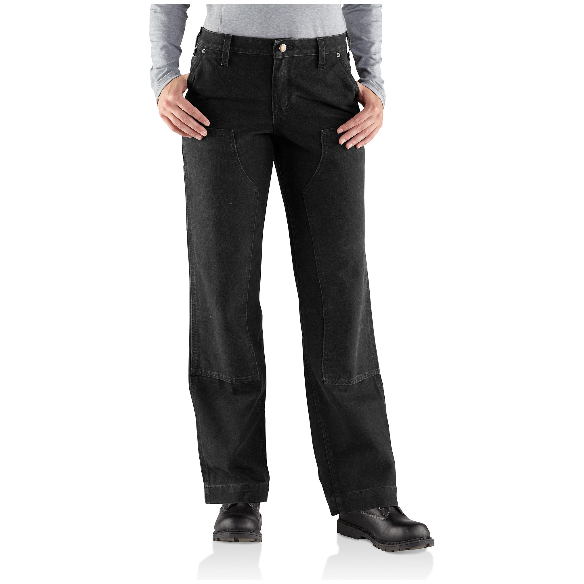 Women's Carhartt Relaxed Fit Sandstone Kane Work Pants. The softest way to handle hard work. Carhartt's sandstone duck fabric is micro-sanded and garment-washed...so it's not only heavy-duty tough, it feels soft and broken-in right out of the box. Details:12-oz. 100% cotton sandstone duck, with double-front toughness for super durability Relaxed fit through the hips and thighs Mid-rise, sits just below the waist Straight leg Contoured waistband prevents gapping in back Utility pockets and utility loop for extras Machine wash / dry. Imported. Order ONLINE Today! - $44.99