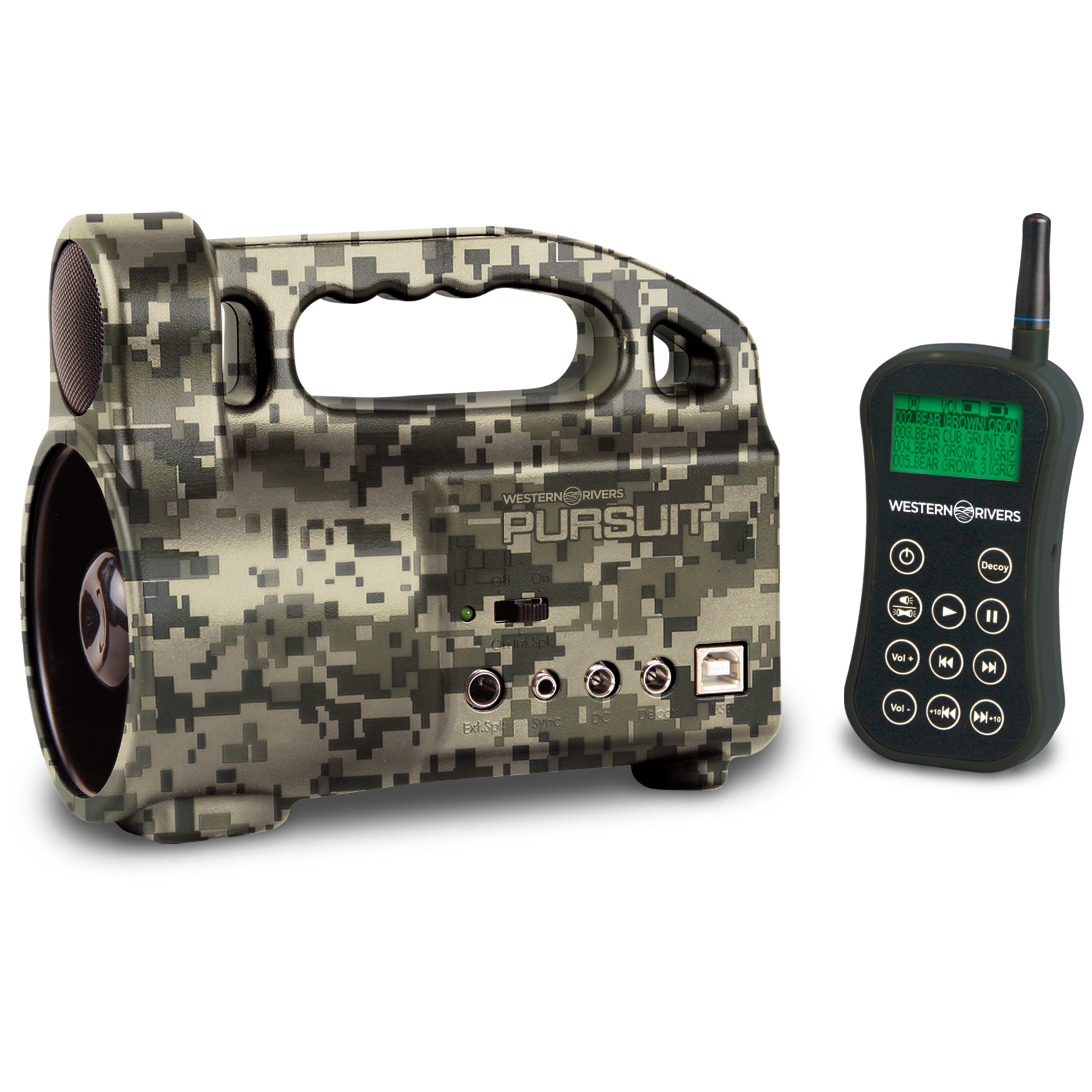 Western River Pursuit Caller. SAVE BIG! 300 sounds right at your fingertips. Sure to prove irresistible to predators. Call them in close with this Pursuit Caller. The LCD remote makes it so easy to use, with everything you need right at your fingertips! Make the call: 300 high-quality ORION Sounds Intensified volume for greater range Dual speakers External speaker jack on the side of the unit to add even more volume with your own speakers Ergonomically designed LCD remote control lets you turn the unit or remote decoy on or off, select a speaker, play and pause the caller, select/scan sounds, control the volume or pause the sound Remote's LCD display shows the title of the current sound, volume level, speaker selection, battery level, if the decoy is on or off position and more Weighs only 28 ozs. Take your hunting to the next level with this Pursuit Caller. - $149.99