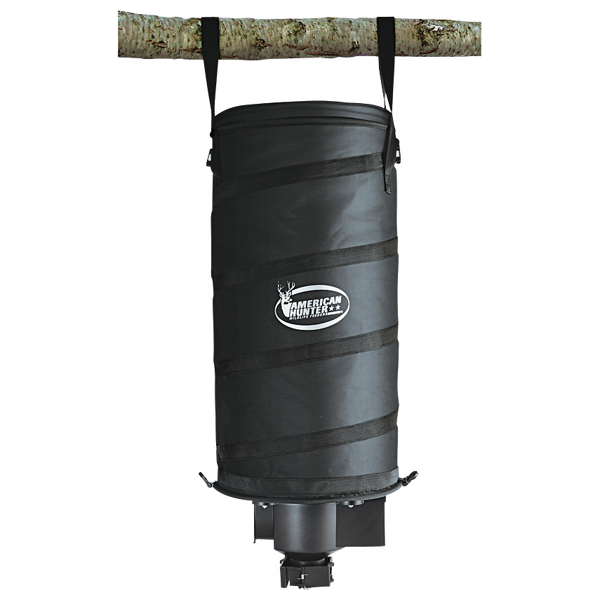 "Portable Bag Feeder with Timer Kit. A simple, compact way to feed deer in your woods. The easy and convenient way for managing and improving the size of bucks and does on your land. This Portable Bag Feeder is incredibly lightweight, and collapses down to 10""h. for compact portability. It fits easily on the rack of your ATV or in the bed of your pickup with no ratchet straps or tie-downs necessary. It's easy to set up, too. Simply attach the 2 heavy-duty nylon straps to a tree limb, fill the 11.2 gallon feeder, and it's ready to go. A 6V battery powers the timer and spreads feed up to 20'. It's that simple.Features:Heavy-duty nylon construction for years or durable use 11.2 gallon capacity Centrifugal spin force opens 4 hinged doors and spreads feed up to 20 ft. Adjustable feed rate of 1 to 30 seconds Feeds 1 to 16 times a day Can be programmed to feed on different days of the week Collapses down to less than 10""h. for compact portability Can be hung from a tree or pole with two heavy-duty nylon straps Runs on a 6V 4.5Ah SLA battery (not included). - $39.99"