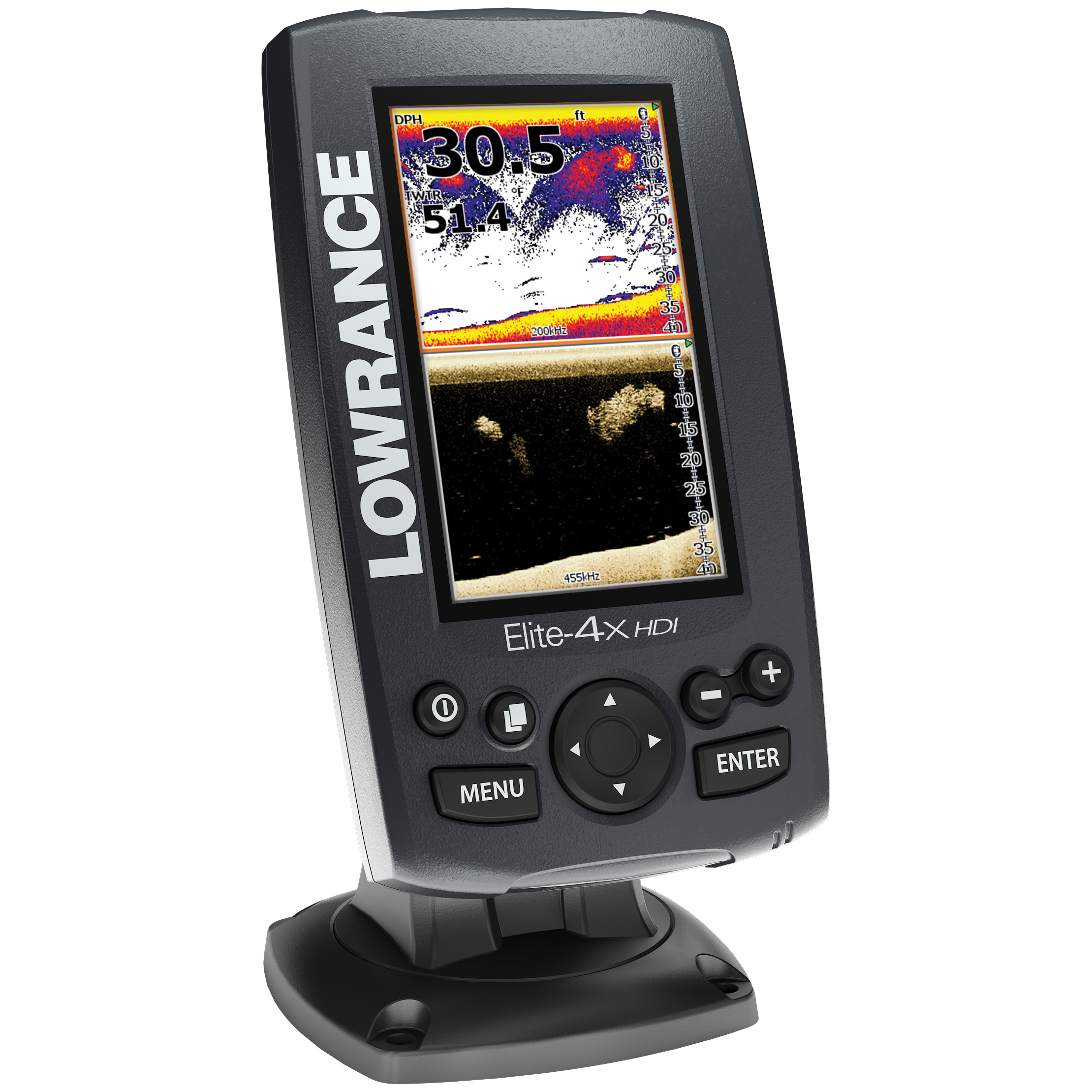 "Lowrance Elite-4x HDI Fishfinder without Transducer. Introducing Hybrid Dual Imaging-the future of fish finding. Hybrid Dual Imaging (HDI) combines the target separation and sonar excellence of Broadband Sounder technology with the structure and bottom contour-finding technology of DownScan Imaging... and the results are brilliant. Fish look like fish. Rocks look like rocks. Structures are perfectly defined. You can even track your own lure!Built into the new Lowrance HDI Skimmer transducer design, Broadband Sounder technology is ideal for marking fish arches and tracking lure action, while DownScan Imaging provides easy-to-understand, picture-like views of structure and bottom detail. With the exclusive Lowrance DownScan Overlay feature, you can combine the DownScan Imaging view with the Broadband Sounder recording for a stunning presentation that separates and clearly exposes fish targets from surrounding structure. It's all displayed on a beautiful, full-color 4.3-inch screen, with a wealth of features to show you what's below with more clarity than you ever thought possible.The Elite-4x HDI Fishfinder without Transducer includes the Fishfinder head unit only, making it perfect if you already have an Elite HDI Fishfinder / Sonar set-up and would like a ""second station"" to view sonar results. Details:Lowrance-exclusive, high-resolution, 4.3-inch, LED-backlit display with 70% more pixels and 36% more usable screen area than previous Elite-4 series displays TrackBack function lets you enjoy immediate scroll-back of imaging sonar history to review covered water and pinpoints spots... saves you time and fuel you'd normally spend trying to retrace your path Advanced Signal Processing (ASP) reduces the need to manually adjust settings to see fish, structure and bottom detail more clearly Multi-Window Display lets you quickly and easily choose from pre-set page layouts-including a three-panel view New easy-to-use page selector menu with quick acce - $144.99"
