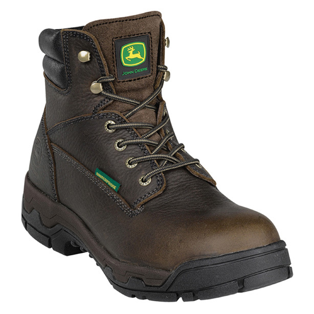 "John Deere 6"" WCT II WATERPROOF Aluminum Alloy Safety Toe Work Boots. ""WCT"" - it stands for Work Comfort Technology. And the ""II"" stands for... two. Meaning these tractor-tough Work Boots are loaded with John Deere's second generation of comfort technology, and boy, you'll feel it in every step. Add in a super-tough aluminum alloy safety toe and 100% waterproof construction, and you're in business.The goods:Rugged waterproof leather uppers WCT II Comfort System with Poron XRD insert absorbs 90% of strike impact and bolsters support Aluminum alloy toe meets ASTM F2413 standards for protection 100% waterproof / breathable membrane bootie Moisture-wicking super-knit lining Removable AirFlow open-cell PU orthotic insert is breathable from heel-to-toe, anti-bacterial, anti-fungal and machine-washable Tempered steel shank for firm underfoot support HEX oil, heat and slip-resistant lightweight rubber outsole Cement construction for a lightweight, flexible fit Electrical hazard resistant to ASTM F2413-11 standards Each approx. 6""h., 30 ozs. State Size, as available in the Shopping Cart. - $169.99"