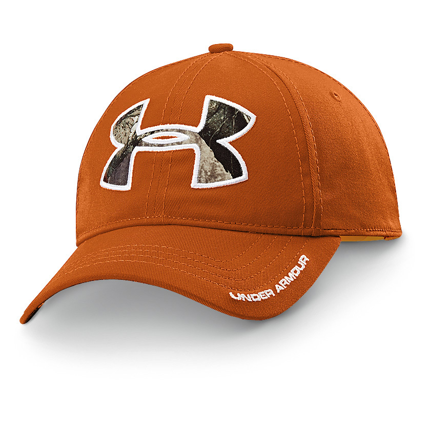 Under Armour Caliber Cap looks stylish and helps keep sweat out of your eyes! When the sun is blazing, you'll be thankful you have on this Under Armour Caliber Cap. It's lightweight and comfortable, and it shields you from the sun's burning rays. Plus, it boasts a HeatGear sweatband that keeps sweat out of your eyes.97/3 cotton / spandex construction. Adjustable fit. HeatGear sweatband. Under Armour logo with camo inlay. One size fits most.State Color, as available in the Shopping Cart. - $24.99