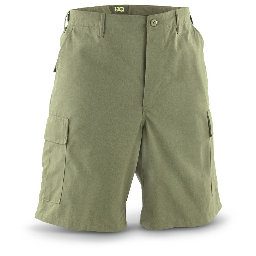 "HQ ISSUE NYCO-RS BDU Shorts. Battle threads designed to beat the heat. HQ ISSUE military-style clothing is pretty much unstoppable. Designed to wear like iron and keep you cool. Made from 50/50 nylon / cotton ripstop fabric (that's the NYCO-RS), a dense weave that's seriously tough and gets more comfortable the more you wear it. The pattern is modeled after the Carabineros de Chile, AKA the Chilean National Police Force. 10"" inseam length Waist adjusters for a custom fit 2 cargo pockets 2 hand pockets 2 back pockets Machine wash / dry Imported. State Size, as available in the Shopping Cart.!!! Limited Quantities !!! - $19.99"