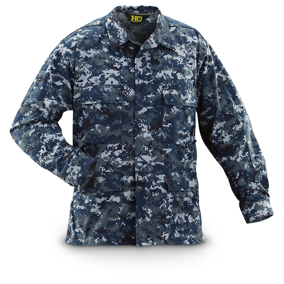 HQ ISSUE Military-style BDU NYCO Twill Shirt. Button front with a storm flapReinforced elbows to resist wearWaist and chest pockets with flapsBDU-style Blue-shade U.S. Navy Digital CamoTopnotch NYCO (50/50 nylon / cotton) twill fabricMachine wash / dry.Imported.State Size, as available in the Shopping Cart. - $24.99