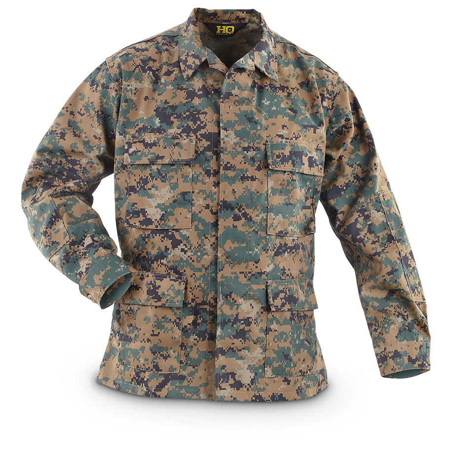 HQ ISSUE USMC Digital Woodland BDU Shirt. SAVE BIG! BDU? It's military lingo for Battle Dress Uniform. This HQ ISSUE USMC Digital Woodland BDU Shirt is guaranteed dependable for hunting, chores or anything outdoors. Like the military surplus classics, this is a steal. Rugged polyester / cotton construction for years of durable wear. Features: Polyester / cotton construction Gusseted waist Chest pockets with 2-button storm flaps Button front Adjustable button cuffs Reinforced arms and elbows Machine wash / dry Imported State Size, as available in the Shopping Cart. - $24.99
