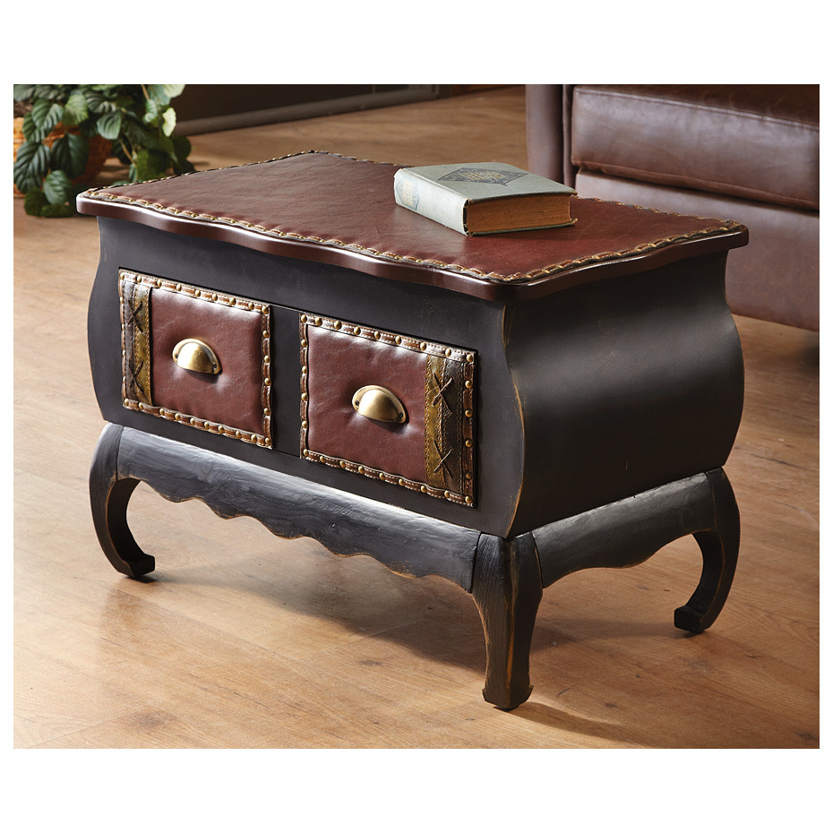 "River of Goods Studded Accent Table has a sophisticated appearance with bonus drawer storage. Unheard of SAVINGS! Now's the time to splurge on a nice end Table! First, it's constructed of wood and hand painted black with antiqued gold accents... attention to detail resulting in a durable and beautiful Table. Love curves? This table has lots, which really gives it an elegant accent, perfect for your living room or home office. The captivating brown leather-look upholstery top with studded accents is ideal for some nice photo frames with pictures of your fishing adventures. Plus, it's more than an end table, since it has 1 long fabric-lined drawer (that looks like 2) to keep your remotes or other odds-and-ends. Now BIG BUCKS OFF!Nice features:Solid wood feet with floor protectors Leather-look drawer has whipstitch and studded accents for antique style Metal pulls on drawer. Note: top is not hinged. Drawer 21 1/2"" x 12 1/2"" x 6""h. Overall 27 3/4"" x 15 3/4"" x 18 3/4"" 29 lbs., weighs 10 ozs. !!! Limited Quantities !!! - $99.99"