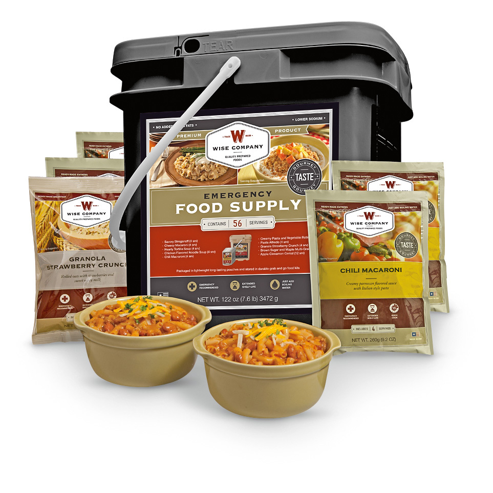 When it comes to emergency food storage, you simply cant beat Wise. With a 25-year shelf life and easy preparation, these meals are a delicious, nutritious way to prepare for emergencies, food shortages and more. The Grab  &  Go Meal Bucket includes enough food to last 1 person a full month, or 4 adults for a week. Be prepared for the worst with Wise!25-year shelf life56 total servings13,600 total caloriesEasy to prepare... just add boiling waterUSA madeIncludes 14 mylar pouches in a Grab  &  Go bucket1 pouch Savory Stroganoff (4 servings)1 pouch Chili Mac (4 servings)1 pouch Pasta Alfredo (4 servings)1 pouch Creamy Pasta and Vegetable Rotini (4 servings)1 pouch Chicken-flavored Noodle Soup (4 servings)1 pouch Cheesy Macaroni (4 servings)1 pouch Hearty Tortilla Soup (4 servings)1 pouch Strawberry Crunch Granola (4 servings)3 pouches Brown Sugar and Maple Multi-grain Cereal (12 total servings)3 pouches Apple Cinnamon Cereal (12 total servings).Order your Emergency Food Bucket today!Please Note: sorry, no returns unless truly defective. - $119.99