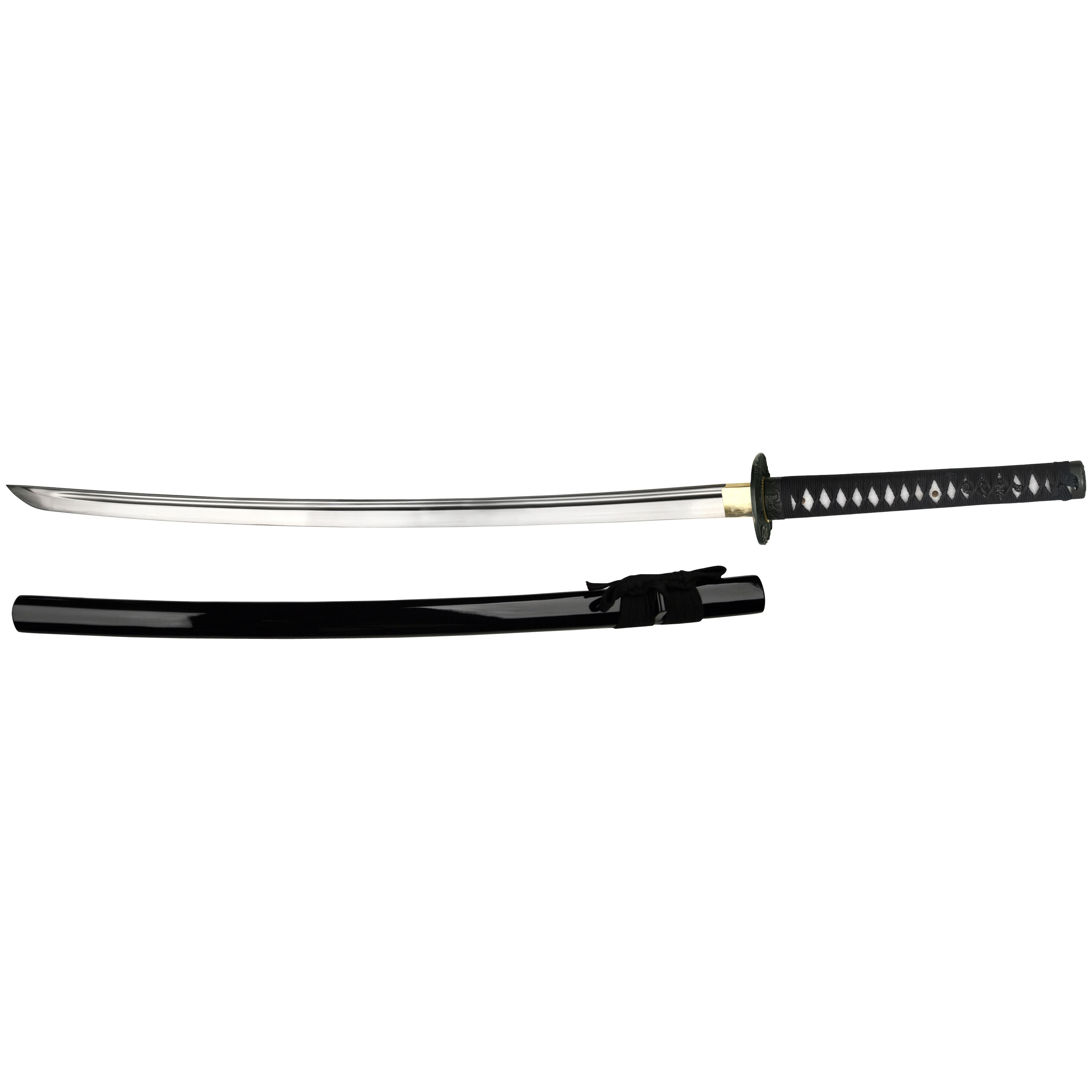 "Self Assemble Katana. Customize your own samurai sword! Create a sword worthy of the noble warrior! Your Self Assemble Katana Kit includes:40"" Overall 28"" Hand-forged 1045 carbon steel blade with blood groove 7mm-thickness full-tang blade Cotton-wrapped handle with ray skin 2 Tsuba Cotton sword bag Cleaning kit. State Color, as available in the Shopping Cart. - $94.99"