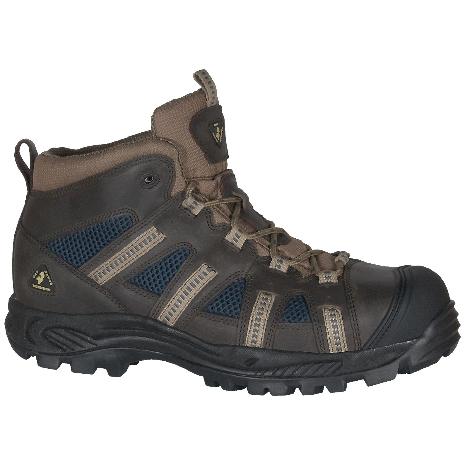 "Golden Retriever WATERPROOF Composite Toe Hiker Work Boots for the ""everywhere man"". No matter where you go, when the going gets tough... as in wet and hazardous... these are the Work Hikers that keep on going! 100% waterproof / breathable, plus an ASTM composite toe to provide the first line of defense against the ""dropsies"".No mere puppies:Tough-but-lightweight leather / mesh uppers Dry Dawgs waterproof / breathable membrane ASTM F2413-11 EH composite safety toe protection Moisture-wicking ECO PU insole with Aegis antimicrobial treatment to inhibit odor and bacteria NRLYTM Flex oil, slip and heat-resistant rubber outsole Flex PU cushion midsole 100% non-metallic. Each approx. 30 ozs. State Size and Width, as available in the Shopping Cart. - $119.99"