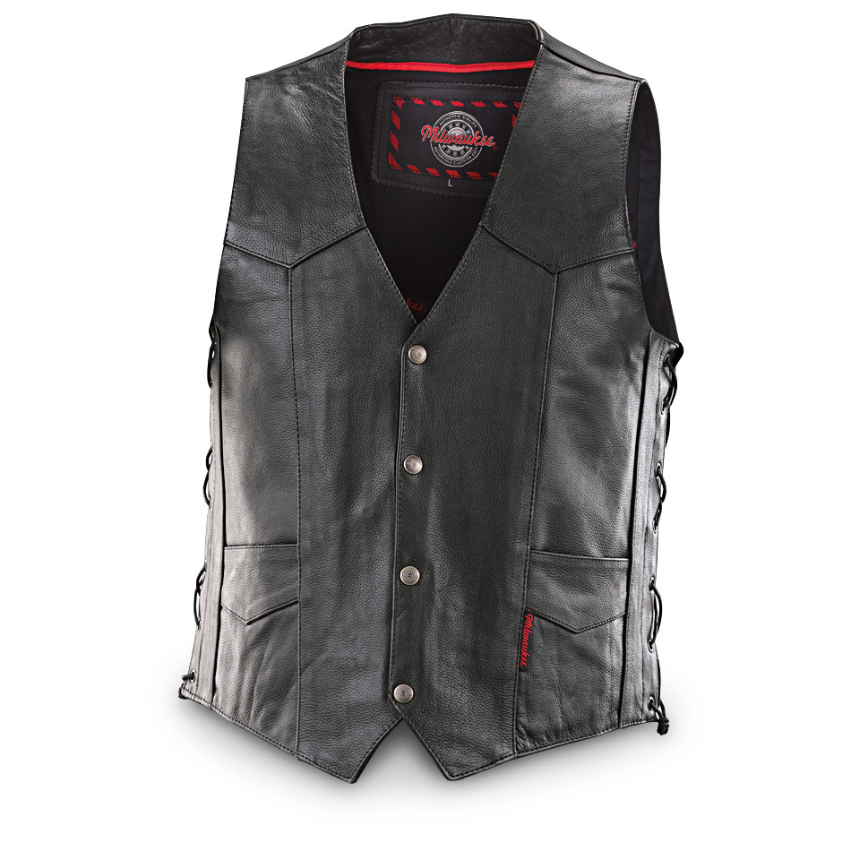 "Milwaukee Motorcycle Side-lace Vest with Conceal and Carry Pocket, rugged style for you, a covert carry for your sidearm! Even better, this Vest is real top-quality leather, too, for years of great-looking, dependable wear. You get a concealed, protected place for your pistol wrapped in a stylish leather Vest. The adjustable side laces offer a custom ""just right"" fit. Full-grain, top-grain leather construction with 4 front snaps, 2 outside front pockets and 1 inside concealed gun pocket. For your pistol's protection and a secure hold, the concealment pocket is made from tough yet soft full-grain leather. Professionally leather clean only. Imported.State Size, as available in the Shopping Cart. Concealed carry, biker style! Act Now! - $89.99"