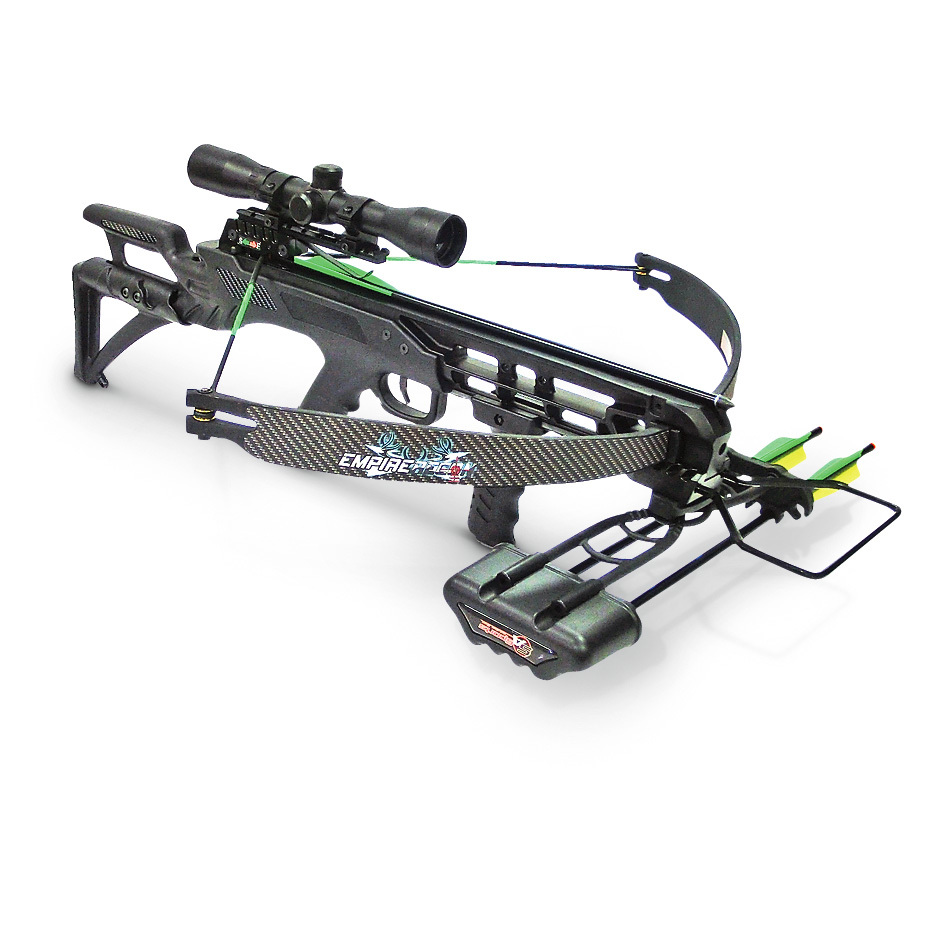 "SA Sports Empire Recon Crossbow... top quality, loaded with features, SAVE BIG! Performance, power and quality all come together in this Empire Crossbow. Weighing in at just 4 1/2 lbs., this lightweight, easy-carrying Crossbow still packs a big-time punch, sending arrows flying at 260 F.P.S. The lightweight, adjustable stock offers a custom fit for more comfortable shooting. And, for shot-after-shot on-target accuracy, there's a 4x32mm multi-range Scope. All at a wallet-saving price! Take a look:Gull Wing design recurve Crossbow 175-lb. draw weight 11 1/2"" power stroke Brass string roller seats Comes pre-strung Black textured grip Lightweight carbon fiber accents Precision scope mount and trigger assembly Ambidextrous auto-safety Picatinny mount tactical foregrip Integrated full-barrel Picatinny rail The Claw Lever Latch quick-detach quiver.Includes two 16"" aluminum arrows, rope cocking device and hex keys. 26 1/2""w. - $149.99"