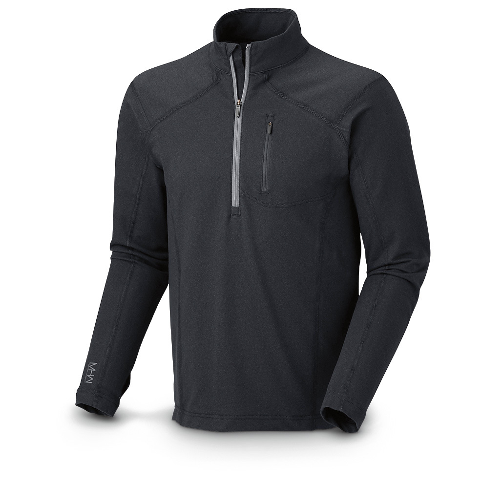 Mountain Hardwear Cragger Long-sleeved Zip T-shirt. For work or weekends, for pursuing your passion outdoors or enjoying a marathon of your favorite shows indoors, this Shirt delivers. It's cotton blended with recycled polyester, so it's soft and comfortable, but also wicking and quick-drying, should you work up a sweat or get caught in an unexpected rain shower. Things starting to heat up? The zip neck lets you vent just the right amount of heat to keep you cool and comfortable. All of this comes together in one sharp-looking shirt with clean lines and stitched details. Soft 70/30 cotton / polyester construction dries quickly Deep zipper opening at neck lets you vent a little heat Thumb loops keep hands warm UPF 30 sun protection Flatlock seam construction for no-chafe comfort Chest pocket with cord exit for your earbuds. State Color and Size, as available in the Shopping Cart. The right Shirt for any adventure! - $39.99