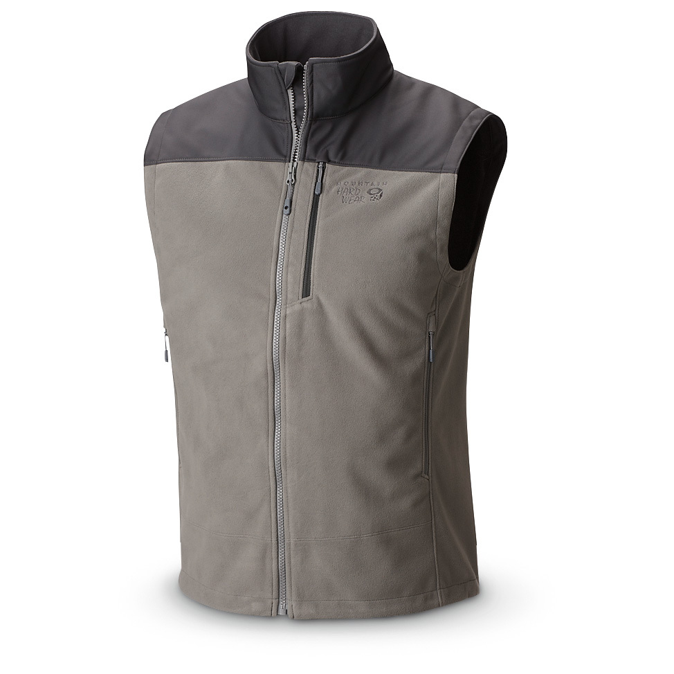 Mountain Hardwear Tech II Vest cuts the cold. Enjoy a full range of motion as you remain warm and comfortable in this rugged outerwear! 100% polyester AirShield fleece AirShield wind and water-resistant softshell defies cold Full-zip front Stand-up collar Napoleon chest pocket AirShield softshell fabric on shoulders and upper arms provides abrasion resistance 2 harness-compatible zip handwarmer pockets keep valuables secure Machine wash / dry Imported. State Color and Size, as available in the Shopping Cart. - $99.99