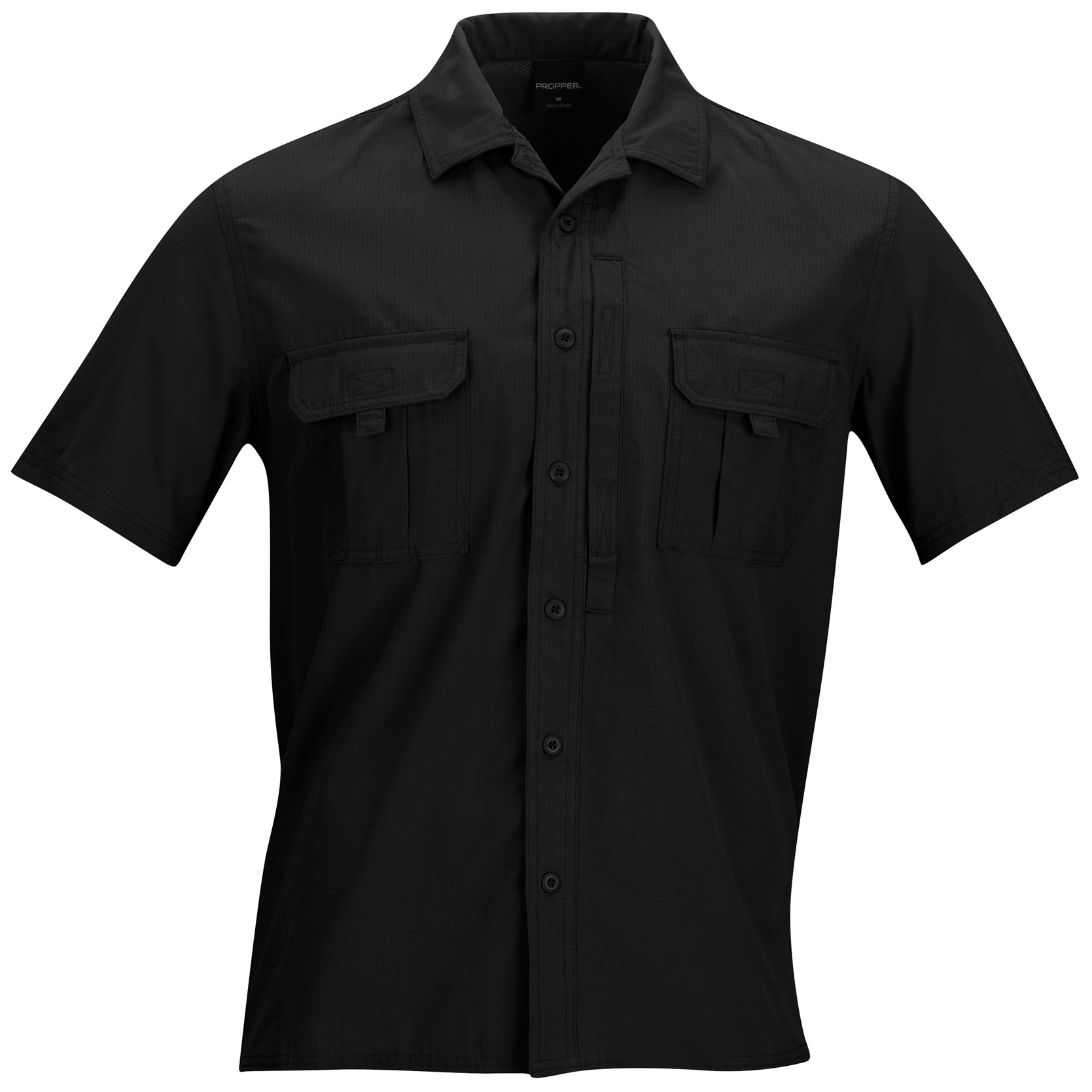 Propper Sonora Short-sleeved Tactical Shirt. Proof positive that staying cool on duty isn't Mission: Impossible. Built to withstand the brutal heat of the Sonora Desert, this Tactical Shirt combines the cooling performance of lightweight fishing apparel with full tactical function. Breathable nylon ripstop wicks moisture away from your body, while strategically placed vents keep the air circulating around your core.Good stuff:4 oz. 100% polyester nylon ripstop fabric is comfortable, durable and moisture-wicking, keeping you dry and comfortable Active 360 degrees vents for maximum airflow Strategically-placed chest pockets with fast-tab loops for easy, one-hand access Dual-layer fabric panels on hips for added durability in high-wear areas Waist zipper pocket for secure storage Full button front with sharp point collar, flat bottom hem Additional side-access chest pocket with hook-and-loop closure Machine wash / dry. Imported. State Color and Size, as available in the Shopping Cart. - $32.99