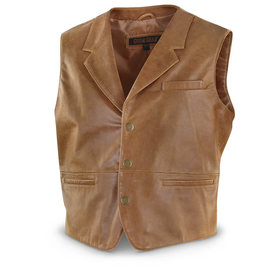 Guide Gear Monte Lambskin Vest. This is a great-looking Vest that you can wear with pretty much anything you already own. Pairs nicely with jeans for a little bit of Western style, whether you're in the big city or out in the country. And the ultra-soft, smooth lambskin feels as good as it looks! 100% genuine lamb leather 100% polyester lining Split-lapel collar 3-snap front Left chest pocket 2 lower front pockets Professionally leather clean only Imported. State Size, as available in the Shopping Cart.!!! Limited Quantities !!!Built to Sportsman's Guide's exact specifications, Guide Gear stands for dependability, long-lasting quality and unmatched value! Guaranteed! - $99.99
