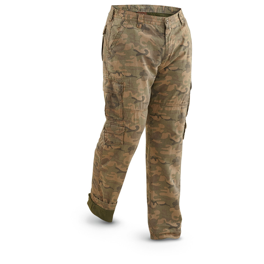 Marino Bay Trailhead Lined Ripstop Camo Cargo Pants. Super comfortable and tough as a pine knot! SAVE BIG! Razor-sharp brush, clinging brambles, muddy trails... you won't have to worry about any of them. These Ripstop Cargo Pants were born for adventure! All-day comfort follows you along every trail. Durable construction lasts wash after wash, wear after wear. Get 'em here for LESS! Tough-but-comfortable 100% cotton ripstop Soft cotton inner lining for added warmth and comfort Large hook-and-loop cargo pockets on both legs, plus smaller pockets underneath 2 hook-and-loop back pockets 2 hand pockets Machine wash gentle / hang dry Imported. State Size, as available in the Shopping Cart. - $17.99