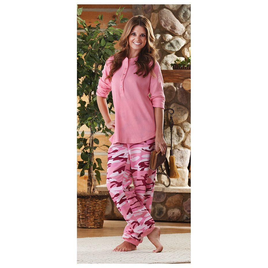 Guide Gear Women's Pajama Set, Camo. Cozy camo! If you're a gal who loves the outdoors, you're sure to love these Guide Gear Women's PJs. Soft, warm and comfortable... perfect for sleeping under the stars.60/40 cotton / poly fleece for superior warmthRib-knit cuffsElastic waistbandMachine wash / dry. Imported.State Color and Size, as available in the Shopping Cart.Built to Sportsman's Guide's exact specifications, Guide Gear stands for dependability, long-lasting quality and unmatched value! Guaranteed! - $19.99