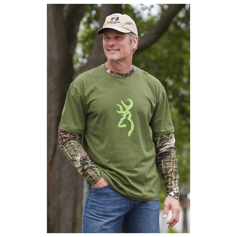 Browning Camo Layered Long-sleeved T-shirt. 2 of your favorites in 1 shirt, and for an awesome LIMITED-TIME LOW PRICE! The iconic Browning Buckmark meets Mossy Oak Break-Up Infinity camo to create a cool layered look!100% cotton Body features 2-way stretch fabric for unrestricted movement Sleeves and neck are Mossy Oak Break-Up Infinity Buckmark on chest Machine wash / dry. Imported. State Color and Size, as available in the Shopping Cart. - $4.99