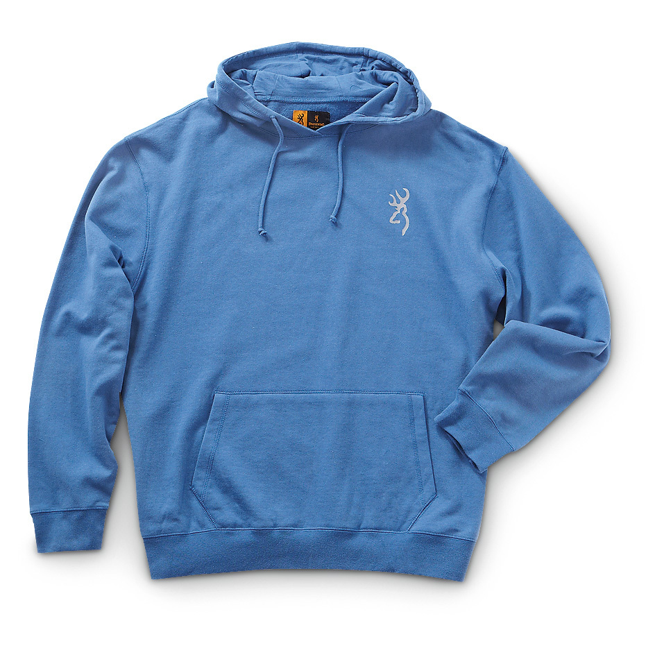 Browning Billboard Hoodie. Comfortable, warm and shows off your Browning pride. Keep warm with a name you can trust! This Browning Billboard Hoodie is perfect for bumming around town on a sunny fall afternoon, and excellent as a layer when you're enjoying the great outdoors in the dead of winter. Constructed of 60/40 cotton / polyester this Sweatshirt provides soft comfort and ample warmth. And with the screen-printed graphics on the chest, back and hood... you can show off your Browning pride with style.Features:60/40 cotton / polyester construction for lightweight warmth 2-Pc. drawstring hood Kangaroo-style pocket to hold your gear Rib-knit cuffs and waistband lock out wind Screen-printed graphics on chest, back and hood Machine wash / dry Imported. State Color and Size, as available in the Shopping Cart. - $9.99