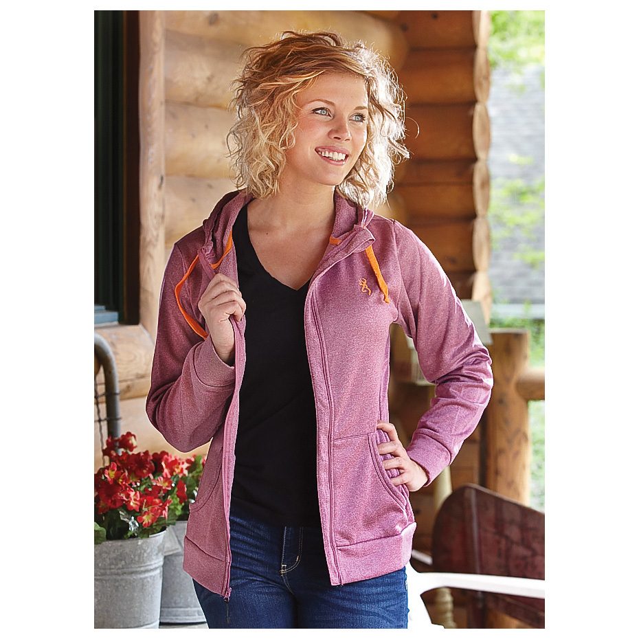 Women's Browning Performance Full-zip Hooded Sweatshirt. A soft, cozy retreat from the world, and a BIG break from budget-busting prices... enjoy CLOSE-OUT SAVINGS, while they last! Escape into dreamy fleece comfort. And better yet, Browning's Performance Full-zip Hoodie looks as good as it feels. Back at camp, on the couch or out with the girls, it's the perfect layer for staying cozy and looking cute.More:Smooth fleece outside super soft fleece inside 100% polyester Full-zip front with chin guard - no painful pinching 2 Front pockets 3-Pc. drawstring hood Machine wash / dry. Imported. State Color and Size, as available in the Shopping Cart. - $14.99