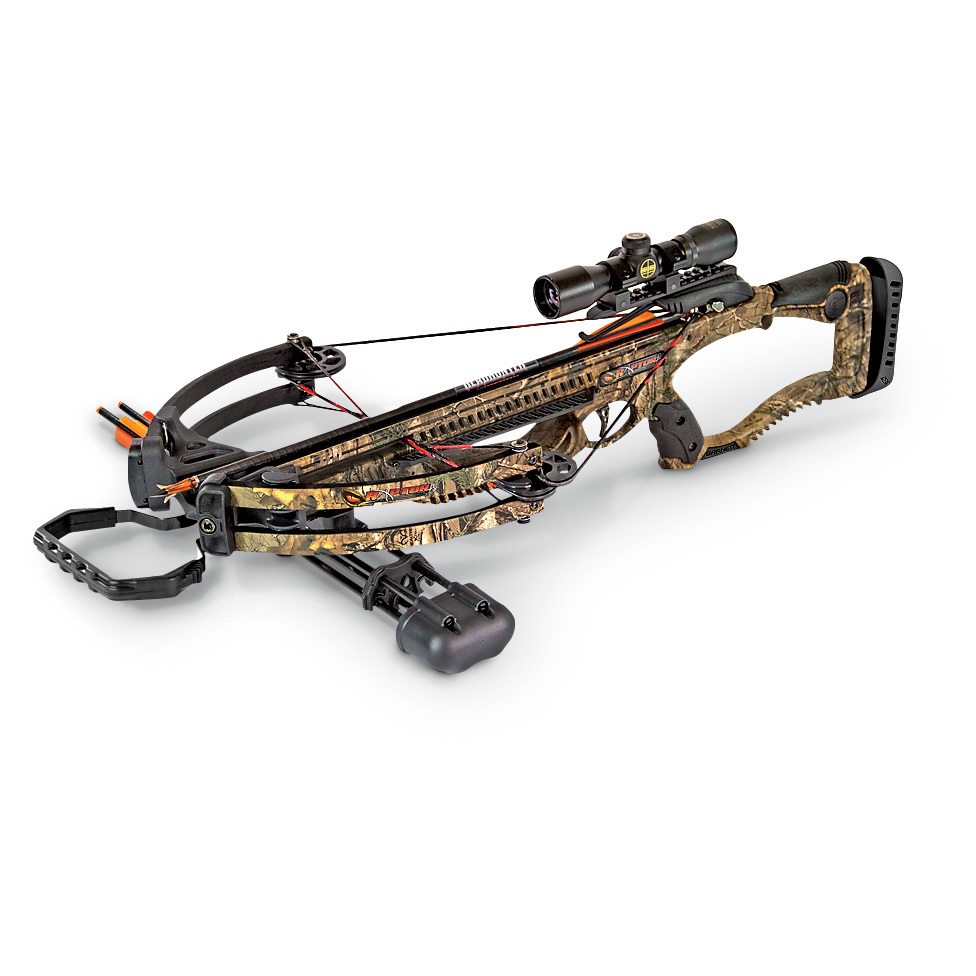 "BarnettTM Raptor FXTM Crossbow... power, precision and speed... 330 F.P.S.!All in a lightweight, easy-to-use package that has everything you needed to take down your target right away. You'll get a well-balanced Crossbow that delivers arrows at an ultra-fast 330 F.P.S. with 97 ft.-lbs. of kinetic energy behind every shot. This is the full package... you also get a 4x32mm multi-reticle scope, three 20"" Headhunter arrows and a 3-arrow quiver.Check the specs:330 F.P.S.150-lb. draw weight97 ft.-lbs. kinetic energy12 1/2"" power strokeLightweight composite stockCustom composite laminated limbsCNC machined 7/8"" Picatinny railHigh-energy cam systemFinger reminders and pass-through foregripCROSSWIRE string and cable systemAdjustable butt pad16"" axle to axleMetal injected, anti-dry fire triggerAnti-vibration foot stirrup.Includes rope cocking deviceMeasures 18"" x 34 1/4""l., 6 lbs., 8 ozs. - $419.99"