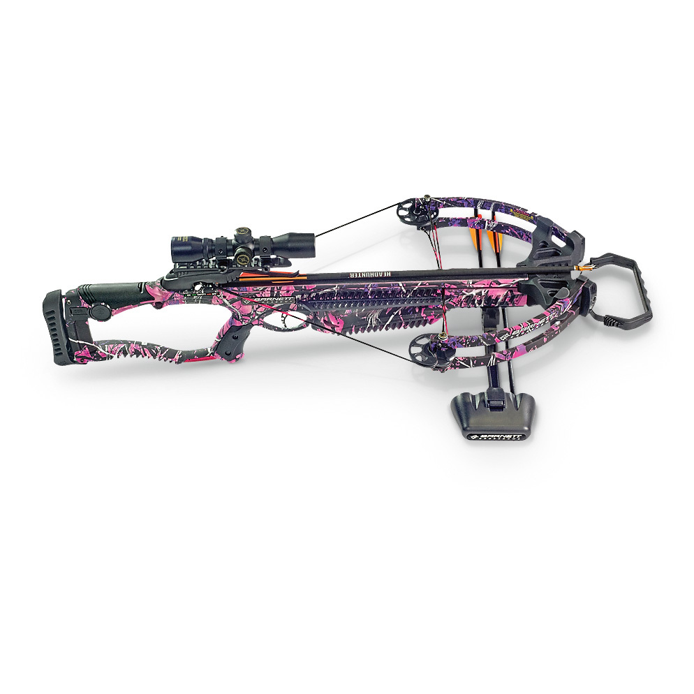 "BarnettTM Lady Raptor FXTM Crossbow... power, precision and speed... 330 F.P.S.!All in a lightweight, easy-to-use package that has everything you needed to take down your target right away. You'll get a well-balanced Crossbow that delivers arrows at an ultra-fast 330 F.P.S. with 97 ft.-lbs. of kinetic energy behind every shot. This is the full package... you also get a 4x32mm multi-reticle scope, three 20"" Headhunter arrows and a 3-arrow quiver.Check the specs:330 F.P.S.150-lb. draw weight97 ft.-lbs. kinetic energy12 1/2"" power strokeLightweight composite stockCustom composite laminated limbsCNC machined 7/8"" Picatinny railHigh-energy cam systemFinger reminders and pass-through foregripCROSSWIRE string and cable systemAdjustable butt pad16"" axle to axleMetal injected, anti-dry fire triggerAnti-vibration foot stirrup.Includes rope cocking device. Measures 18"" x 34 1/4""l., 6 lbs., 8 ozs. - $419.99"