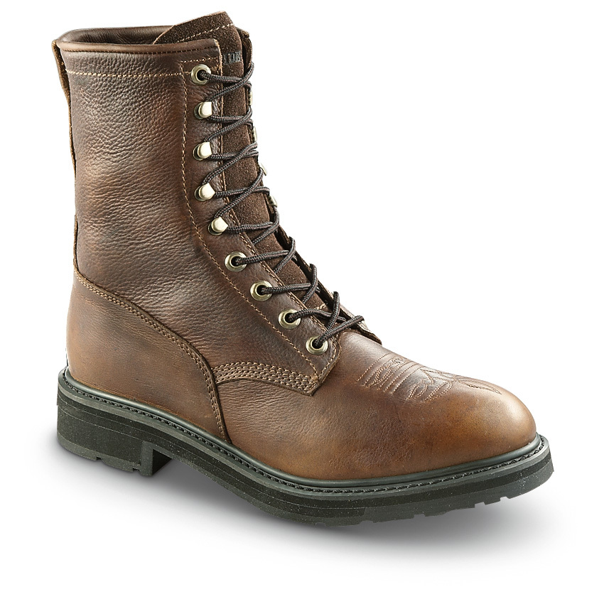 Guide Gear Men's Premium Kiltie Work Boots. Stylish comfort for tough working conditions! BIG BUCKS OFF! Upgrade to these ambitious work-a-holics. Comfort, stability and traction all for a budget-friendly price! Check it out:Oil-tanned, tumbled, full-grain leather uppers for style and flexibility Sure-grip, oil-resistant polyurethane outsole Repairable Goodyear welt for stability Unlined for cool breathabilityRemovable, mesh-lined multi-density insole for comfort. State Width: medium or wide; and Size, as available in the Shopping Cart.Built to Sportsman's Guide's exact specifications, Guide Gear stands for dependability, long-lasting quality and unmatched value! Guaranteed! - $69.99