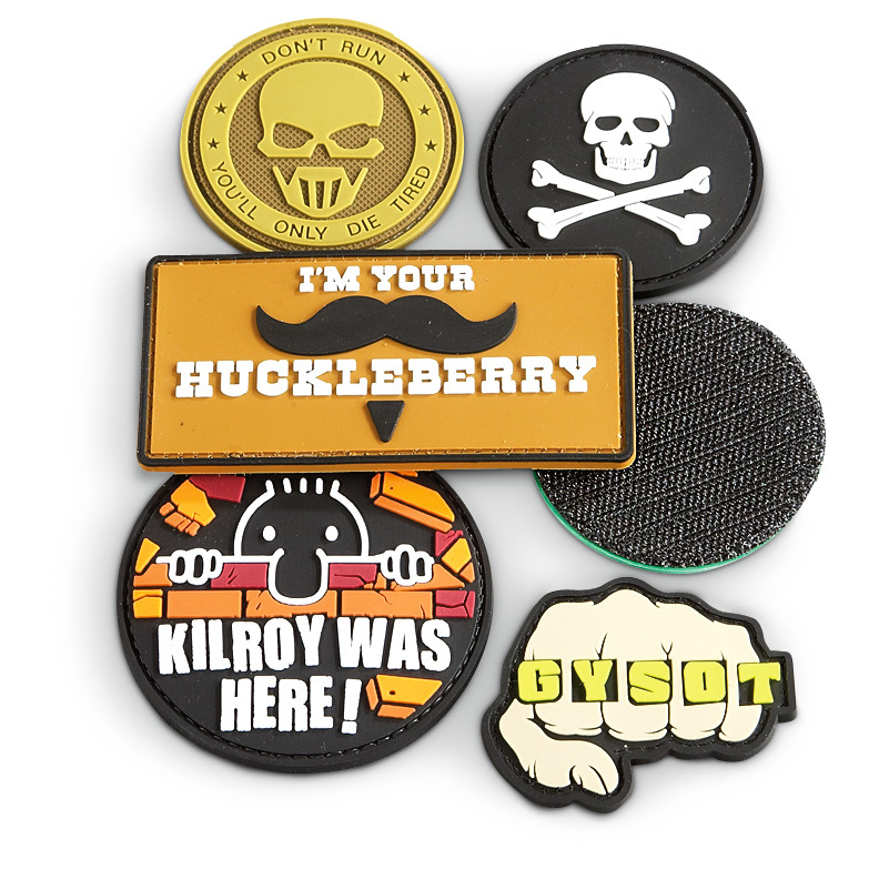 "6-Pk. of Rubberized Morale Patches. Salute to enthusiasm! Get motivated with a half dozen Morale Patches in various shapes to boost the morale, confidence and discipline of a person or group. Assortment of messages affix to any grip-strip loop surface. Sizes: 2"" to 4"".!!! Limited Quantities !!! - $11.00"