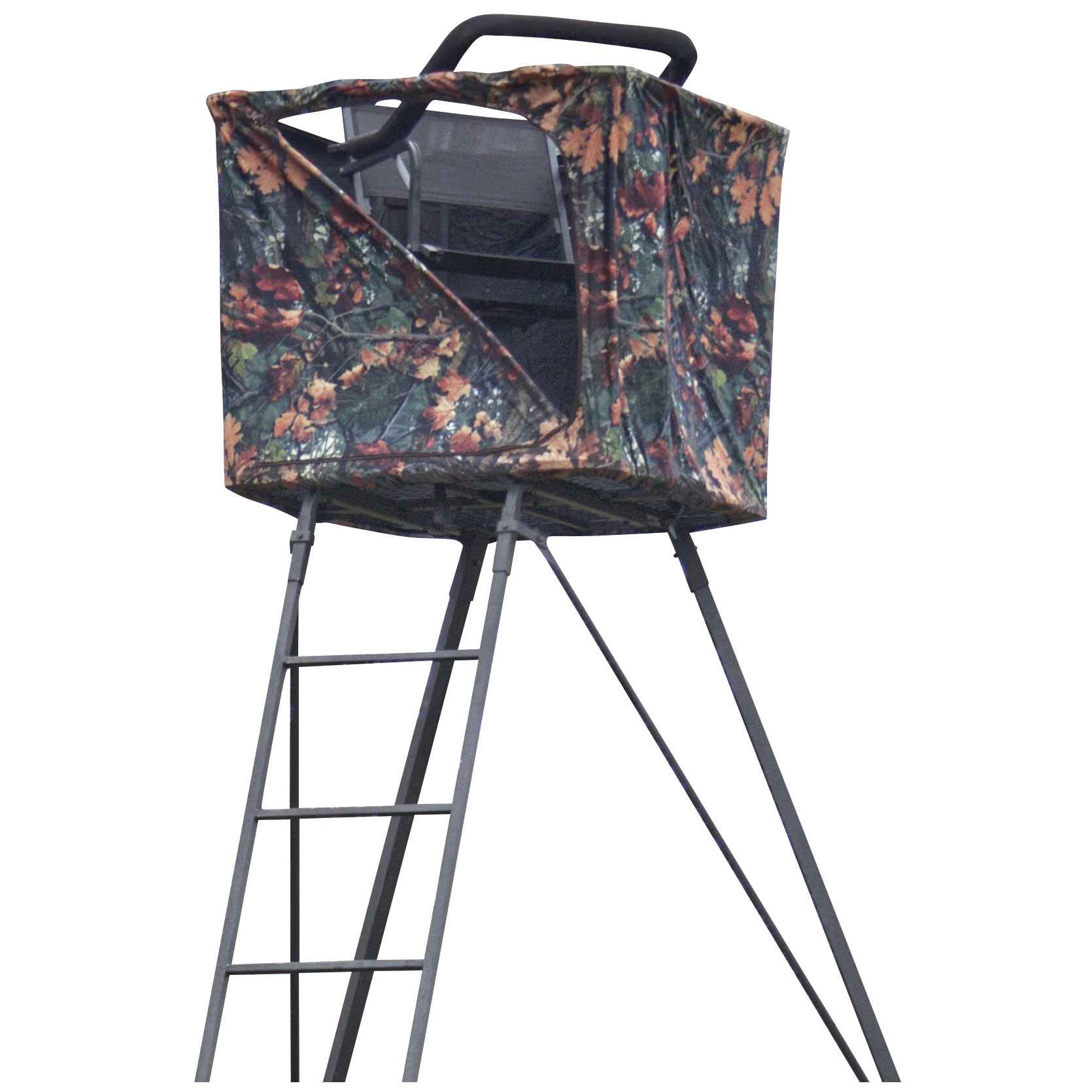 "Rivers Edge 14' Perimeter 1-man Ladder Pod with Curtain. Superior comfort with a 360 degrees view of action! The seat pivots a full 360 degrees, so you won't miss a thing! This Perimeter Pod gets you up to a nice, high vantage point and gives you a full, unhindered range of view, great for wide-open or tree-less areas. And you get to enjoy your advantage in all-day comfort with the TearTuff mesh seat and large 3 x 3' platform. Plus, it comes with the Perimeter Pod Curtain, so you get a little extra protection from the wind and other elements...and your movement stays concealed! Great for gun and bow hunters alike.Ladder Pod features:Constructed of strong welded tubular steel for years of durable use Extremely stable design with rock-solid cross bracing for stability 3 x 3' platform provides more than enough hunting space for the perfect shot Swivel seat rotates 360 degrees for easy shooting in any direction Flip-up shooting rail pivots with the seat Easy-up attached ladder for safe climbing Measures 14' h., weighs 94 lbs. Perimeter Pod Curtain features:Extra-tough material with River's Edge camo keeps you concealedAdded protection from the elements... great for cold or windy climatesIncluded metal frame mounts on quick and easy.Please Note: This item is shipped by commercial carrier curbside. This product Ships in 1 Box, Measures 61""l. x 9""w. x 21""h., and Weighs approx. 152lbs. No expedited delivery. High-value orders require a physical street address, otherwise insurance costs will be added to the shipping total. - $324.99"
