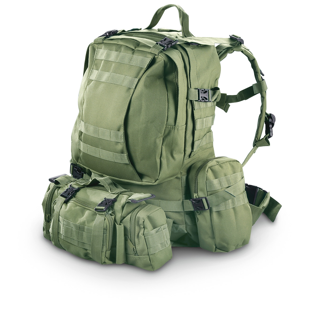 "Military Tactical Assault Rucksack. Big hauling for your next mission! Be prepared! This Military Tactical Rucksack is ready to dish out primo storage on the trail or in the field. Side pouches and waist Shooter's Bag are detachable to customize your load. Your choice of 9 camo colors!The right stuff:Heavy-duty CORDURA nylon 2 large main compartments with a total capacity of 1,600 cubic inches M.O.L.L.E. compatible Padded back and shoulder pads for long-lasting comfort on the trail Heavyweight zippers and buckles Adjustable padded waist belt 2 detachable zip pouches on sides, 5 x 2 x 8""h. each Detachable multi-pocket M.O.L.L.E. Shooters Bag with waist belt. Measures 21 x 12 x 8"" (no pouches), Measures 21 x 18 x 11 (with pouches attached). Weighs 2 lbs., 6 ozs.!!! Limited Quantities !!! - $49.99"