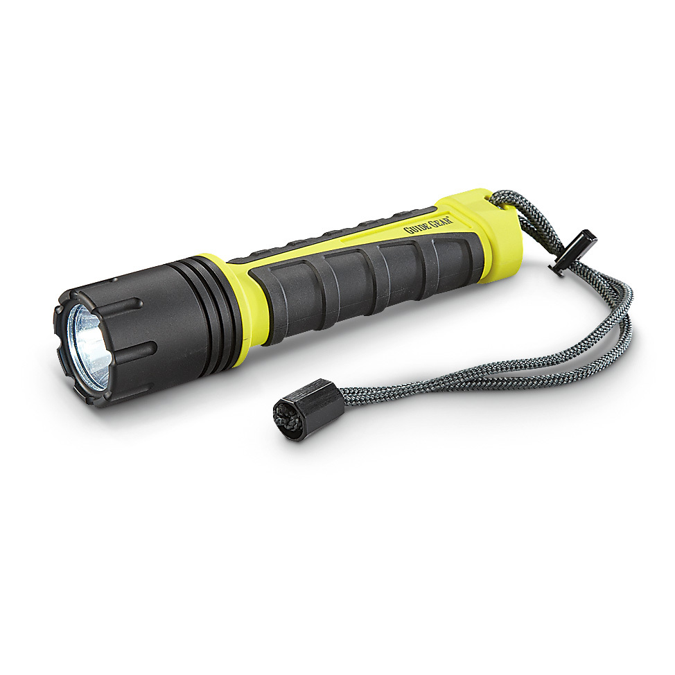 "Guide Gear 480-lumen Flashlight. TOUGH and POWERFUL, in ANY conditions! Your beacon in the darkness! These Flashlights pack a punch with the latest bulb / reflector technology for a tight, smooth beam. Designed to perform in harsh environments and feel comfortable in your hand, without costing a fortune.Rugged... and REALLY bright: Virtually indestructible polymer construction Anti-static, resistant to chemical and solvents High, Low and Flash modes Tactical tail switch for easy one-handed operation O-ring sealed for weather resistance Wrist strap included. Uses 4 AAA batteries (not included)7 1/2""l., 7 ozs.Built to Sportsman's Guide's exact specifications, Guide Gear stands for dependability, long-lasting quality and unmatched value! Guaranteed! - $49.99"