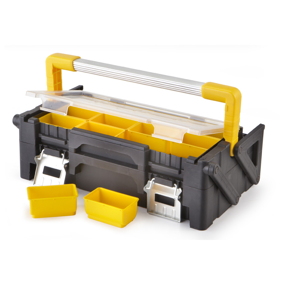 "ITT 18"" Tool Box with Removable Bins offers all-purpose parts / tool storage! Portable organization! Here's a well-made, all-purpose Box for home, auto, cabin or shop. A must-have for storing vital parts, fishing tackle, craft supplies, small toys, collectibles, beads, sewing stuff and more.Details:12 molded trays (3 1/2 x 2 x 1 5/8"") 6 molded trays (5 x 3 3/8 x 3"") Built-in carry handle 4 lbs. - $19.99"