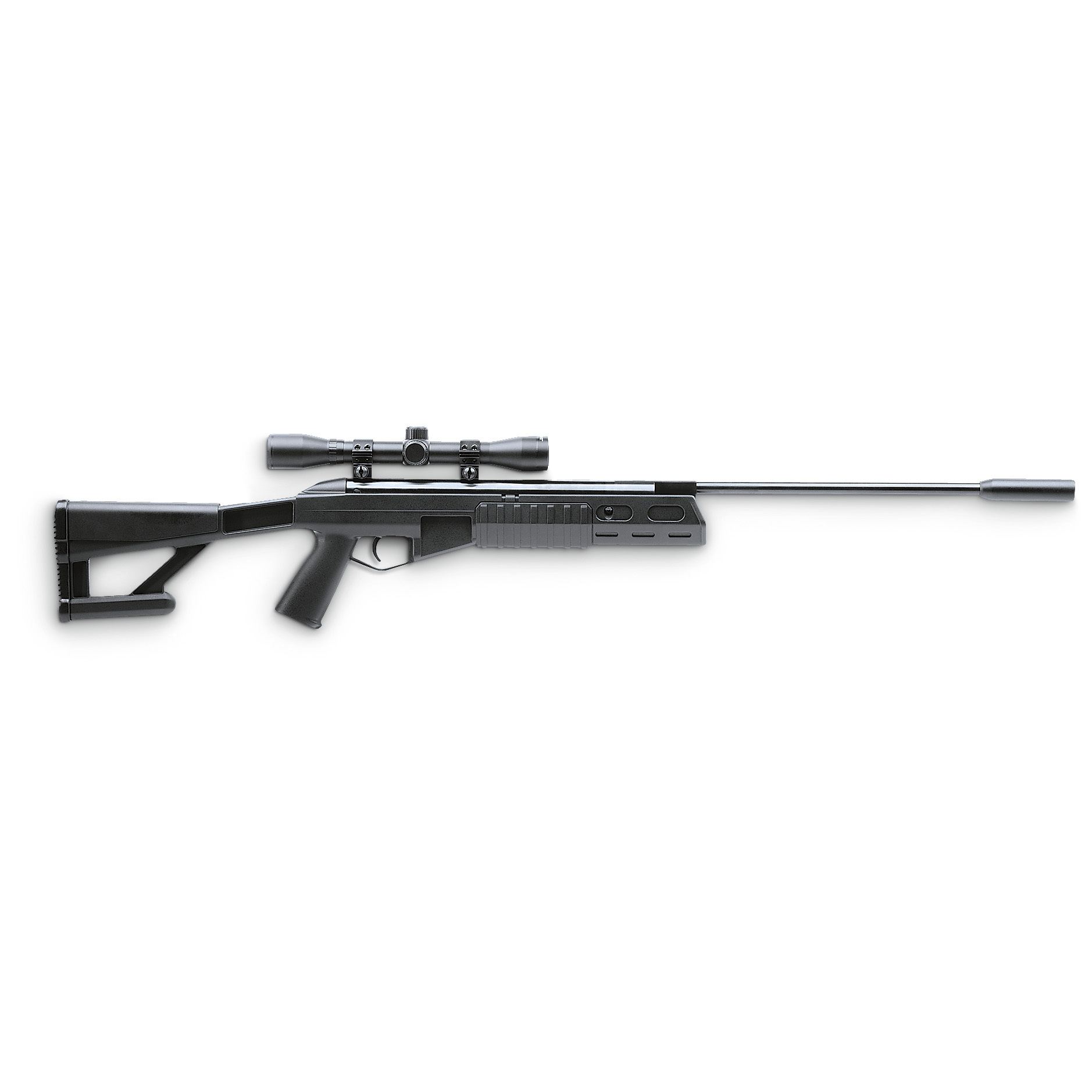 "Crosman .177 cal. Tactical Break-barrel TR77 Air Rifle with 4x32mm Scope delivers up to 1,200 F.P.S. Introducing the crackshot choice! Here's Crosman's Break-barrel Air Rifle with military styling. Complete with an all-weather tactical, openwork synthetic stock. Includes a 4x32mm scope which just begs for you to take it out for paper / tin can target practice! Drop poopy pidgeons and other pests. Even take it small game hunting for sport!Ready to rock:2-stage adjustable trigger Pistol grip and forearm are designed for comfort, stability Single shot action Accurate 4x32mm optics Safety lever 15""l. rifled barrel. Weighs 7 lbs. !!! Limited Quantities !!! - $79.99"
