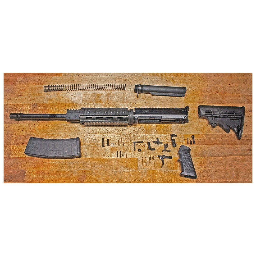 ATI AR-15 Rifle Parts Kit, Quad Rail, 5.56x45mm NATO, 30 Round PMAG. A comprehensive collection of Parts! Just in... these magnificent Rifle Parts to keep your passion working smooth as silk. Nothing but the best quality, includes everything but the lower receiver. Get yours here to outfit your tactical fire-stick right.No stone unturned:Mil.-spec certified 4150 chrome-moly vanadium steel M4 contour barrel with 1/7 twist Chambered in 5.56x45mm NATO MELONITE coated barrel T-marked forged M4 upper receivers with extended M4 feed ramps Picatinny gas block A2 flash hider installed with Peel washer M4 single heat shield handguard M16 bolt carriers Mil.-spec fire control group with .154-diam. pins Mil.-spec .154-diam. hammer and trigger pins Mil.-spec .250-diam. take-down pins Mil.-spec 6-position ribbed reinforced stock Quad Rail 30-rd. polymer Pmag. Kit: 6 1/2 lbs. - $579.99