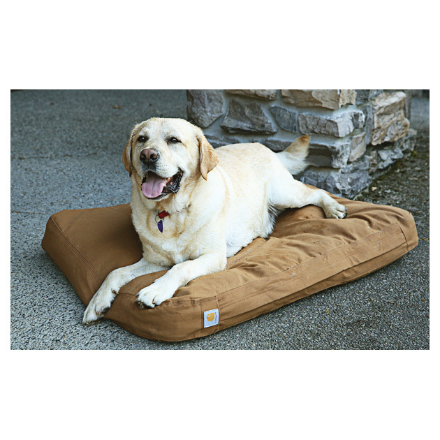 "Carhartt Brown Cotton Duck Padded Dog Bed.A little more padding might be just what Rex's older muscles need to relax and sleep. That's where this extremely comfortable and durable Bed comes in.Washable 100% cotton canvas duck... just like Carhartt's durable jacketsInterior pillow is a blend of recycled nylon and polyester paddingBrass zipper can be used to remove the interior for cleaningFits dogs from puppies to approx. 100 lbs. 36"" x 30"" x 4""h.This Bed gets 2 paws up! - $59.99"