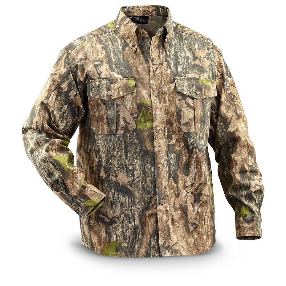 "WFS Camo Twill Hunting Shirt keep things ""hushhush"" in the field. PRICED LESS! Silence is golden. Especially on the hunt. WFS Camo Hunting Gear is made from quiet, comfortable, durable 100% cotton twill fabric that keeps you stealthy in the field.Full-button front with point collar2 button-flap chest pocketsButton cuffsStealthy Northwoods CamoMachine wash / dryImported.State Size, as available in the Shopping Cart.!!! Limited Quantities !!! - $19.99"