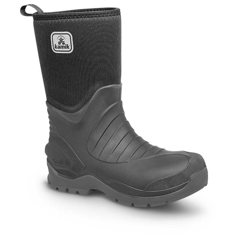 "Kamik Elements Shelter Rubber Boots... WATERPROOF protection and comfort for all terrains and conditions! BIG BUCKS OFF! Made from rubber that's lightweight, unaffected by temp, is oil and acid-resistant, and can flex over 2,000,000 times without cracking. 7mm 4-way stretch neoprene uppers are sub-zero rated, and a superior traction outsole is grooved to disperse snow, slush and rain but with a flat surface for traversing over sticks, stones and uneven land. Inside, LockFIT offers a comfortable, supportive fit, while the air mesh and fleece lining wicks moisture. Each approx. 12""h., 30 ozs. Boots have a temperature rating of -40 degrees. Built in USA.State Size, as available in the Shopping Cart. Medium width. - $109.99"