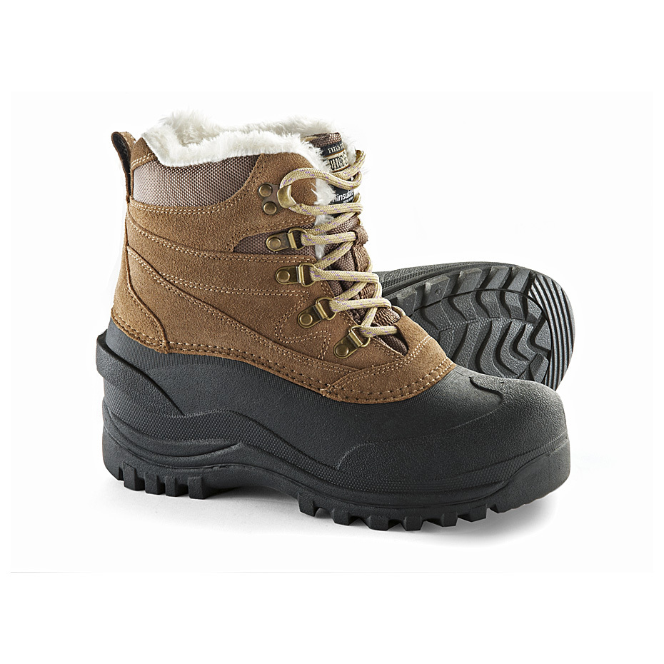 "Women's Guide Gear 400 gram Lace-up Winter Boots. Reliably warm and durable at a great price! Your best value! Women's Guide Gear 400 gram Winter Boots feature Thinsulate Ultra Insulation for superior warmth, plus a WATERPROOF rubber shell and water-resistant suede leather uppers for dry, durable performance. 400 gram Thinsulate Ultra Insulation provides reliable warmth Waterproof TPR shell plows through wet conditions to keep you dry Suede leather uppers with Scotchguard provide additional water-resistant protection Warm wool felt liner is removable Durable rubber outsole with aggressive tread for sure-footed traction Pull-on loops at back Each approx. 8""h., 18 ozs. State Size, as available in the Shopping Cart. Grab your winter gear now and be prepared!Built to Sportsman's Guide's exact specifications, Guide Gear stands for dependability, long-lasting quality and unmatched value! Guaranteed! - $49.99"