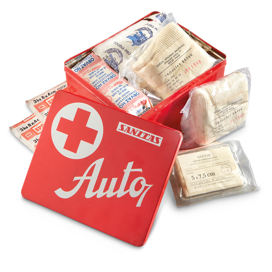 "New Czech Military Surplus Cold War First Aid Kit. ""Medic, over here!"" Own this rare collectible from the Cold War era, complete with metal can and bandages. Reload it with new first aid supplies, or use it for other valuables! Cold War-era production Red metal case is 6 x 5 x 3""h. Red Cross on cover Comes loaded with bandages. Condition: brand new, never issued. May show signs of long-term storage. Order yours today!!!! Limited Quantities !!! - $14.99"