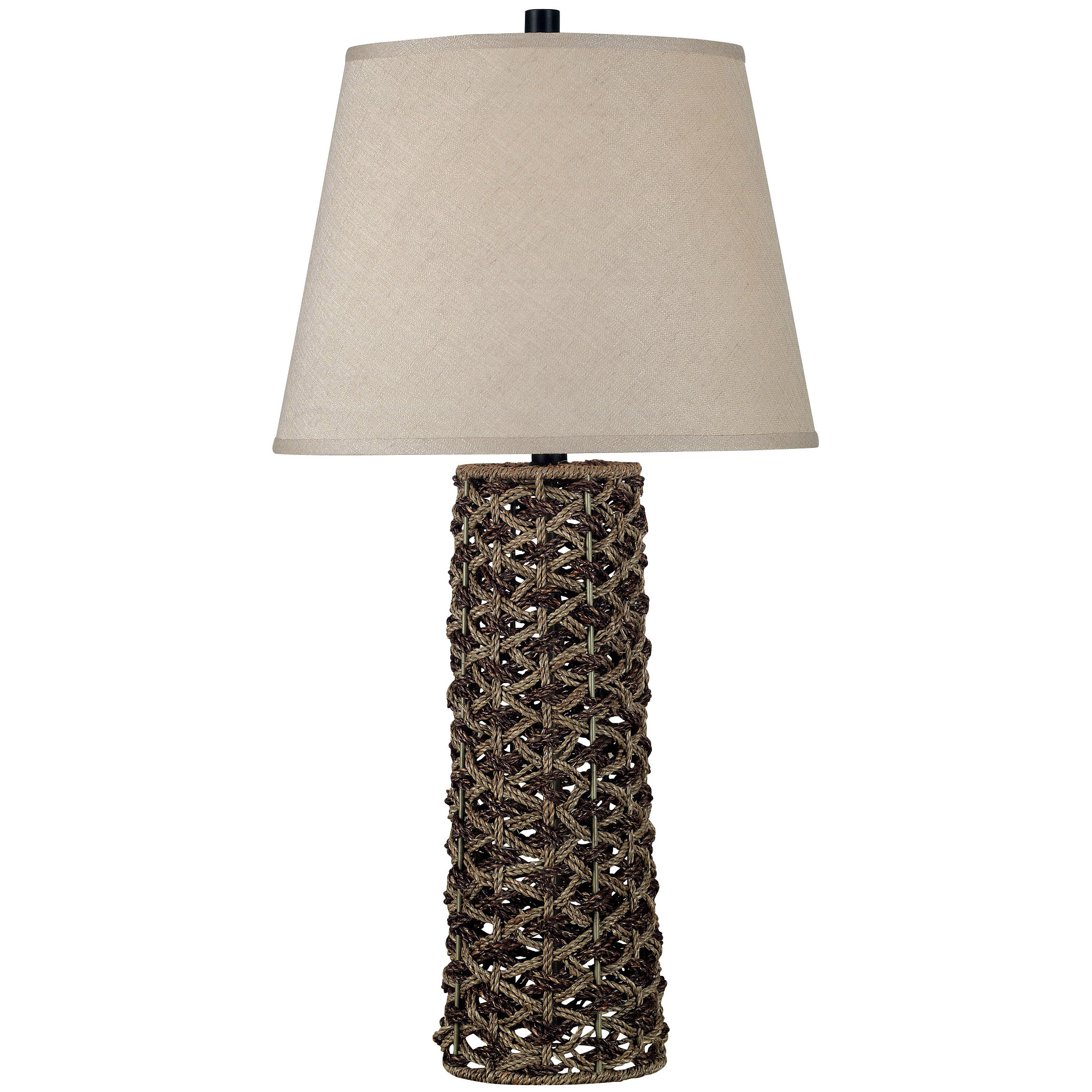 "Kenroy Home Jakarta Table Lamp shines with singular beauty! Made by interweaving natural materials over a wire frame, the Jakarta Table Lamp brings distinctive style to your decor. The body is a combination of light and dark rope, complemented beautifully by a taupe 15"" diam. linen shade. Lamp stands 30""h. overall. Uses one 150W bulb. UL Listed. Some simple assembly required. - $129.99"