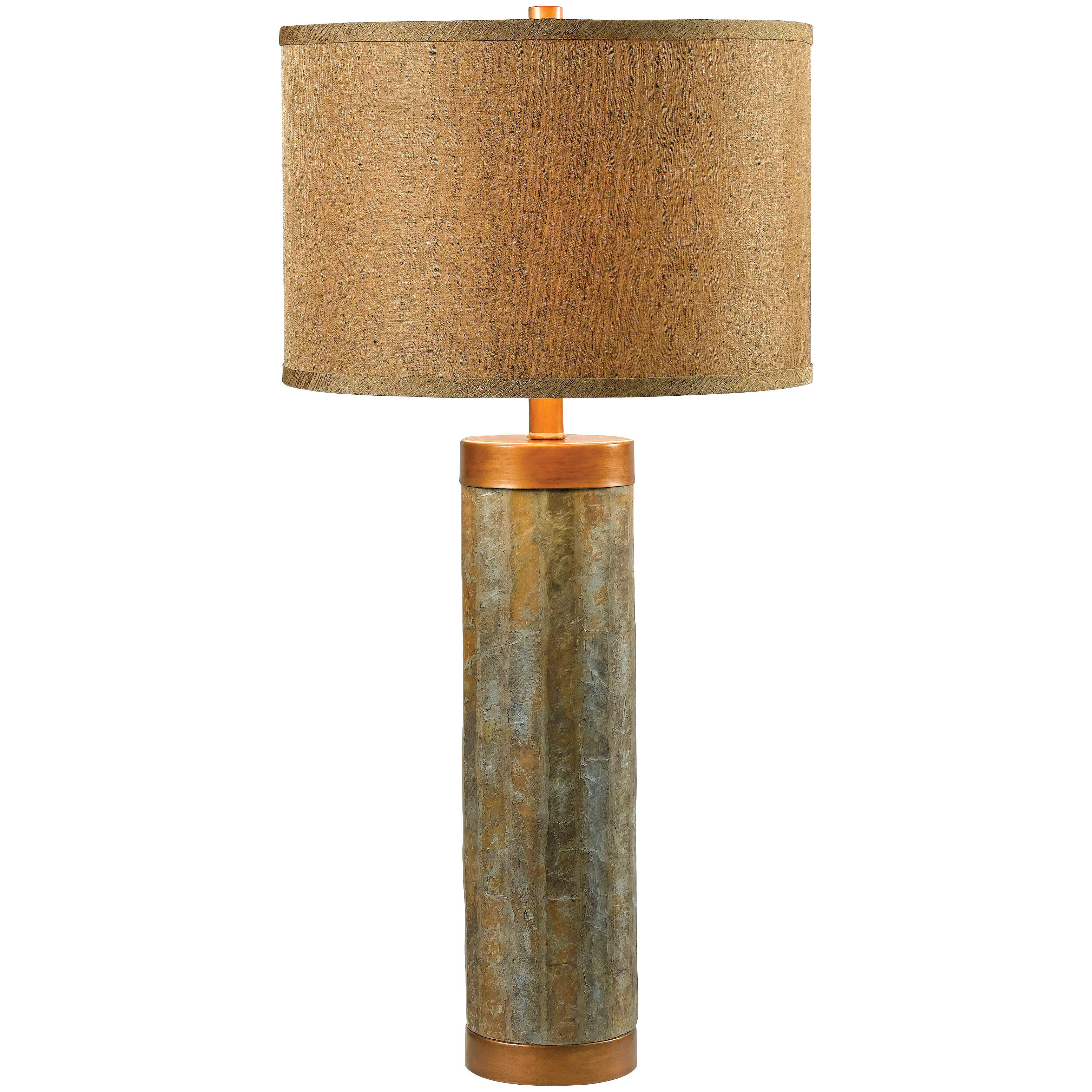 "Kenroy Home Mattias Table Lamp. Elegance and colorful appeal, blended to decor perfection. A column of natural green slate, with copper-finished metallic accents and a gorgeous antique gold fabric shade... if you're looking to take your decor in a new direction, look no further. Lamp stands 30 1/2"" overall, shade is 15"" diam. Uses one 150W bulb (not included). UL Listed. Some simple assembly required. - $129.99"